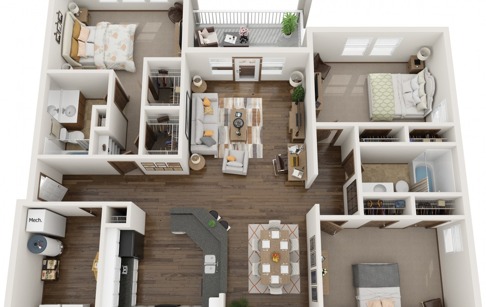 The Condo - 3 bedroom floorplan layout with 2 baths and 1500 square feet.