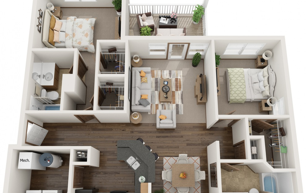 The Heritage - Furnished - 2 bedroom floorplan layout with 2 baths and 1200 square feet.