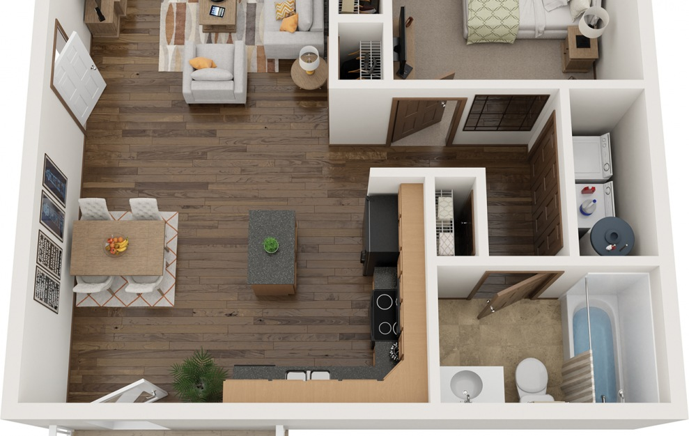 The Nest - 1 bedroom floorplan layout with 1 bath and 747 square feet.