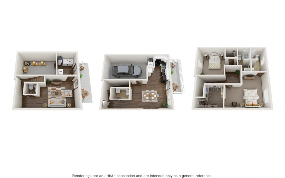 The Bailey (2 Bedroom) - 2 bedroom floorplan layout with 2.5 baths and 1140 square feet.