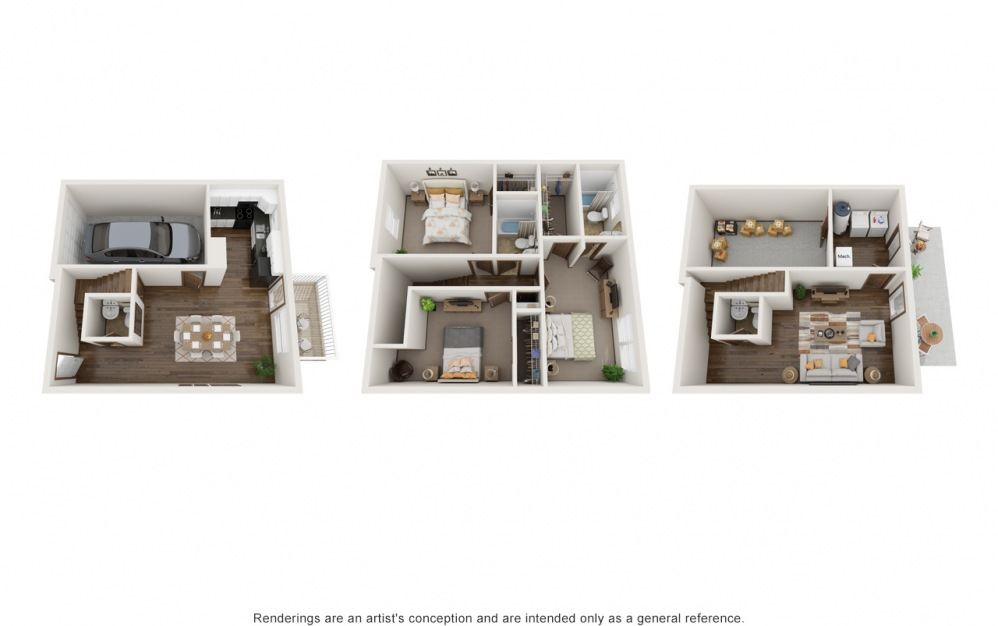The Bailey (3 Bedroom) - 3 bedroom floorplan layout with 2.5 baths and 1605 to 1742 square feet.