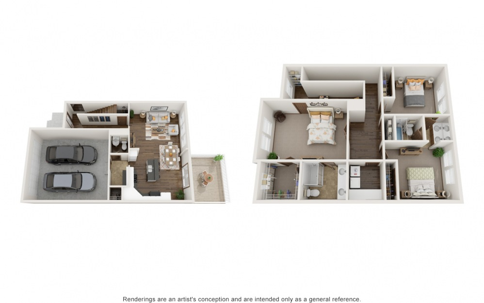 The Connor - 3 bedroom floorplan layout with 2.5 baths and 1684 square feet.