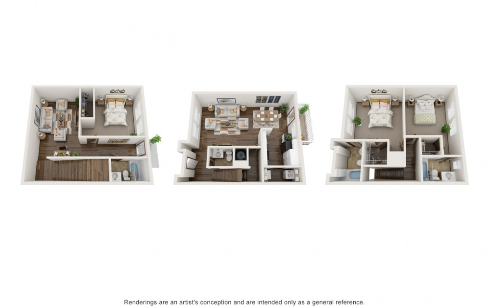 Large Grant - 3 bedroom floorplan layout with 3.5 baths and 1686 square feet.