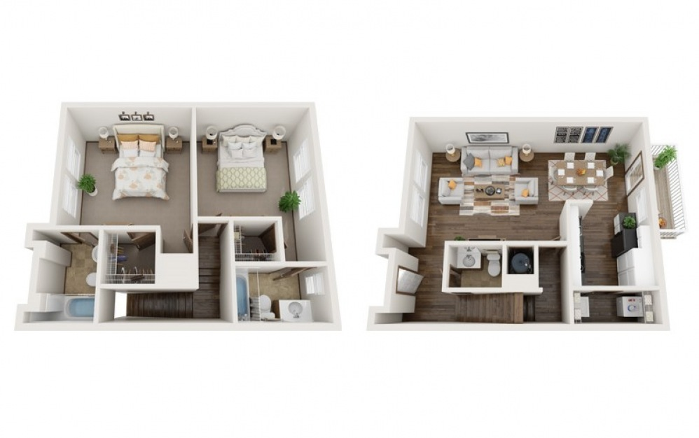 The Grant - 2 bedroom floorplan layout with 2.5 baths and 1110 square feet.