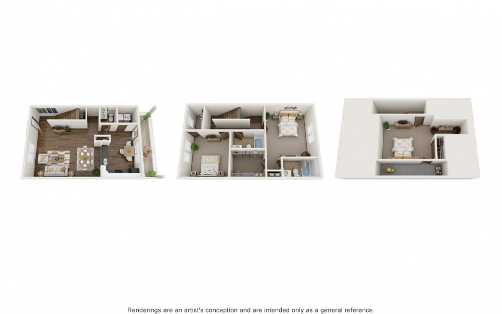 The Macie - 3 bedroom floorplan layout with 2.5 baths and 2000 square feet.