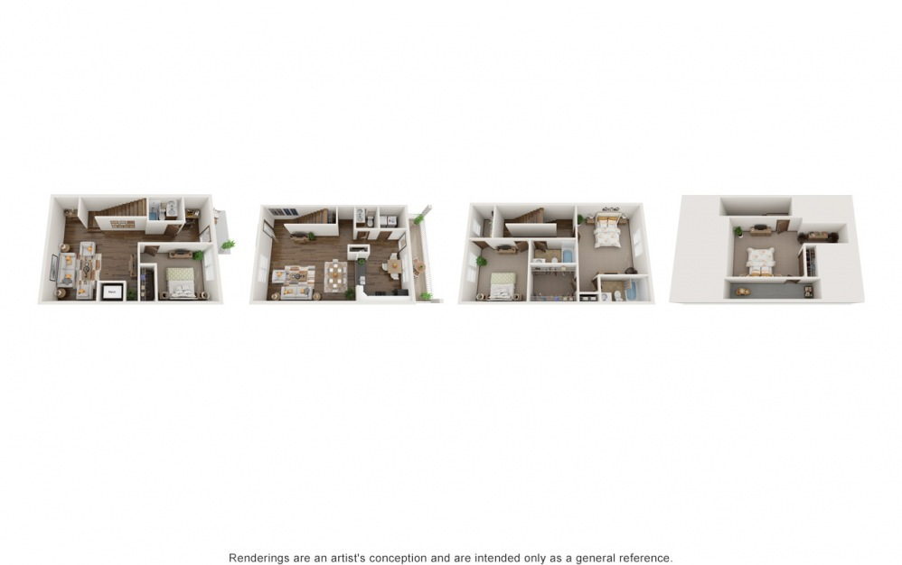 Large Macie - 4 bedroom floorplan layout with 3.5 baths and 2586 square feet.