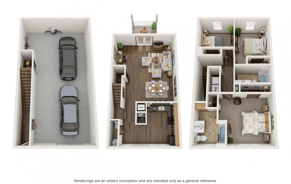 The Molly - Furnished - 3 bedroom floorplan layout with 2.5 baths and 1440 square feet.