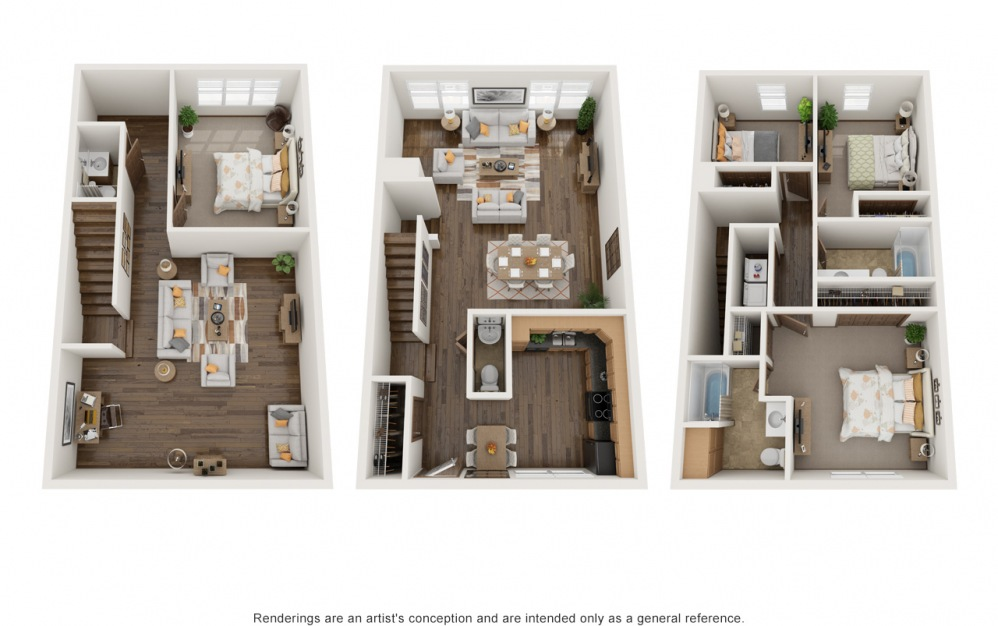 Large Molly - 4 bedroom floorplan layout with 3.5 baths and 2160 square feet.